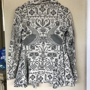 Free People Gray Graphic Print Drape Blazer Jacket